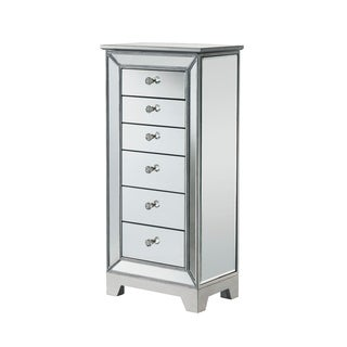 Silver Wood Mirrored 6-drawer Jewelry Armoire