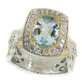 Michael Valitutti Palladium Silver Cushion Aquamarine & White Zircon Halo Ring
