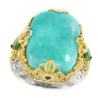 Michael Valitutti Palladium Silver Amazonite, Chrome Diopside & White Sapphire Ring