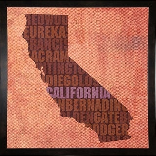 "California State Words Framed Print 11.75""x11.75"" by David Bowman"