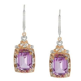 Michael Valitutti Palladium Silver Kunzite Color Quartz Doublet & Pink Sapphire Drop Earrings