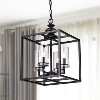 La Pedriza 4-light Antique Black Lantern Chandelier with Clear Glass Cylinders (As Is Item)