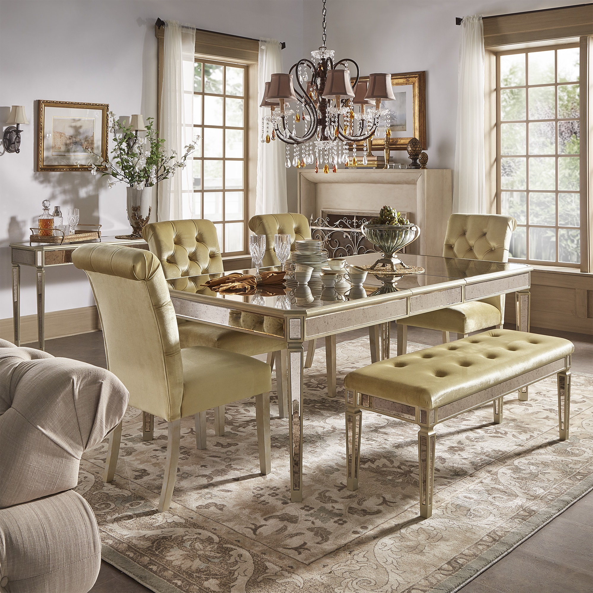 Clara Gold Velvet And Antique Gold Mirrored Dining Set By Inspire Q Bold Overstock 17999914