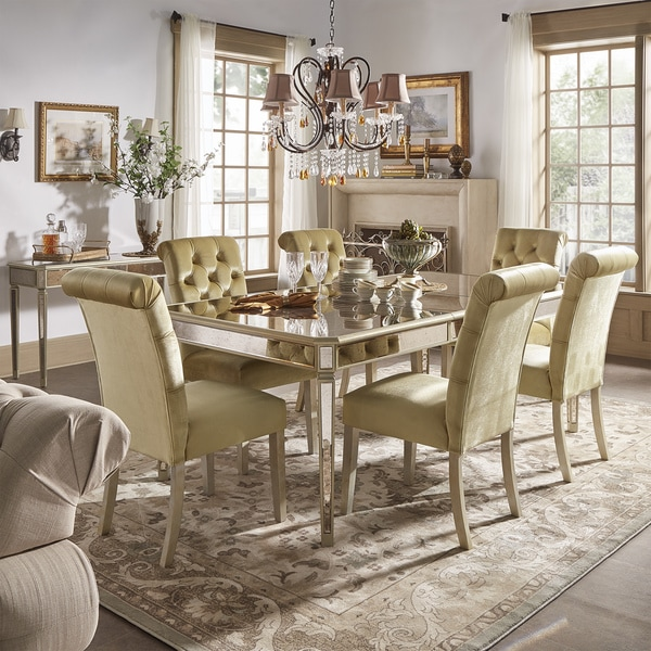 Clara Gold Velvet and Antique Gold Mirrored Dining Set by iNSPIRE