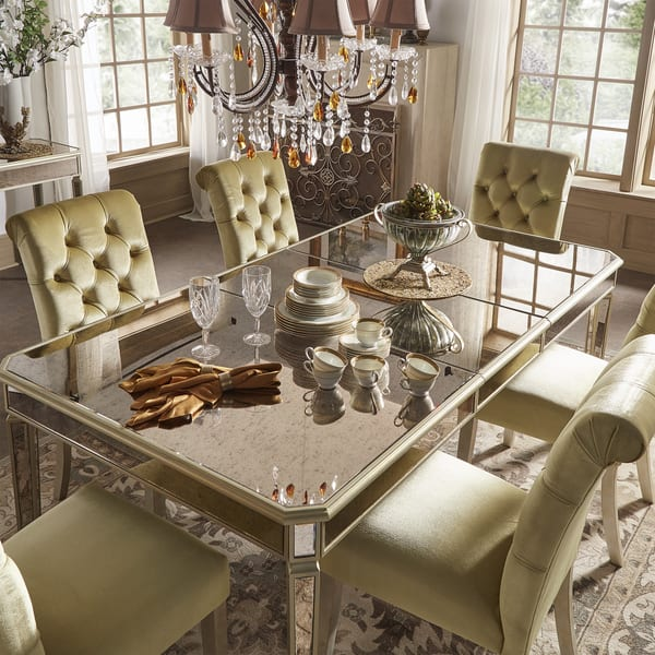 Shop Clara Gold Velvet and Antique Gold Mirrored Dining Set ...