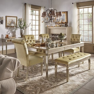 Clara Gold Velvet and Antique Gold Mirrored Dining Set by iNSPIRE Q Bold