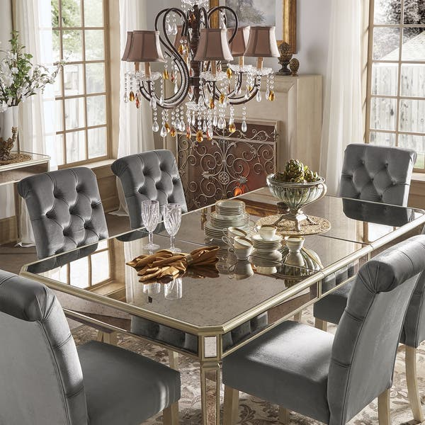 Shop Clara Silver Velvet and Antique Gold Mirrored Dining ...