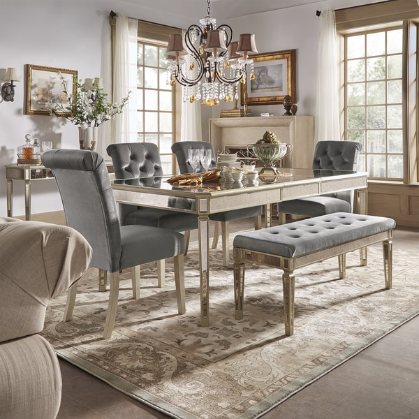 Clara Silver Velvet and Antique Gold Mirrored Dining Set by iNSPIRE Q Bold