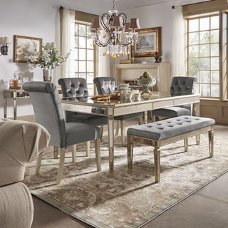 Clara Silver Velvet And Antique Gold Mirrored Dining Set By INSPIRE Q  Bold|https: