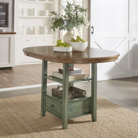 Eleanor Solid Wood Oval Extendable Counter Height Pedestal Base Dining Table by iNSPIRE Q Classic