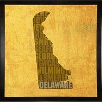 """Delaware State Words Framed Print 11.75""""x11.75"""" by David Bowman"""
