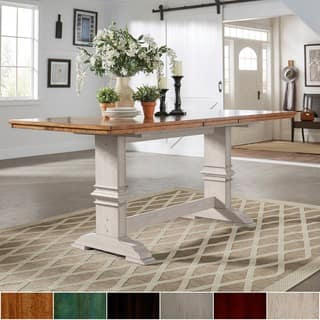 Eleanor Solid Wood Counter Height Trestle Base Dining Table By INSPIRE Q Classic
