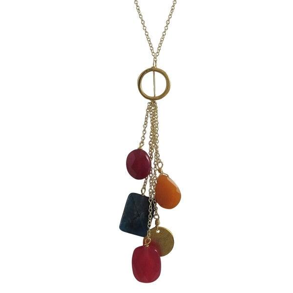 Luxiro Gold Finish Orange and Red Semi-precious Combination Lariat Necklace