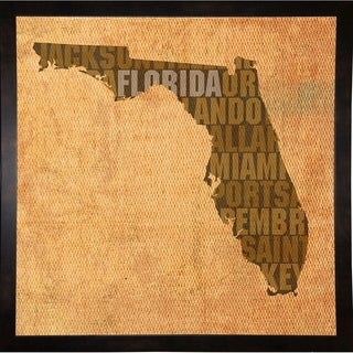 """Florida State Words Framed Print 11.75""""x11.75"""" by David Bowman (2 options available)"""