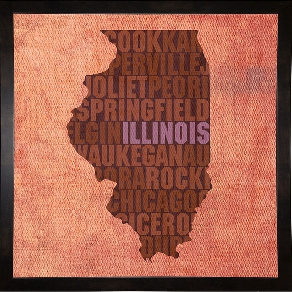 """Illinois State Words Framed Print 11.75""""x11.75"""" by David Bowman"""