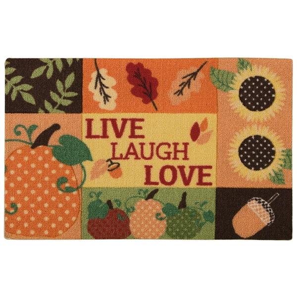 """Nourison Light Enhance """"Live, Laugh, Love"""" Orange Accent Rug - 1'8"""" x 2'6"""""""