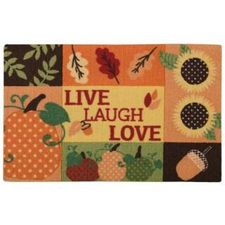 """Nourison Light Enhance """"Live, Laugh, Love"""" Orange Accent Rug (1'8 x 2'6)"""