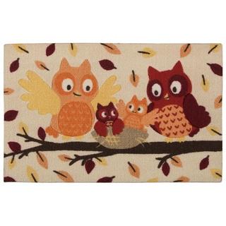 """Nourison Light Enhance """"Owls"""" Multicolor Accent Rug (1'8 x 2'6)"""