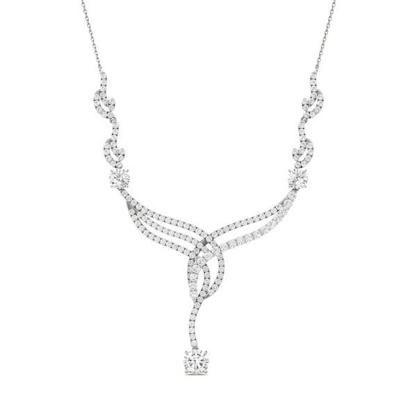 Charles & Colvard 14k White Gold 3 1/2ct DEW Forever Brilliant Moissanite Woven Statement Necklace