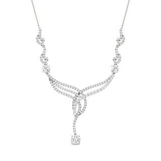 Charles & Colvard 14k White Gold 3 1/2ct DEW Forever Brilliant Moissanite Woven Statement Necklace