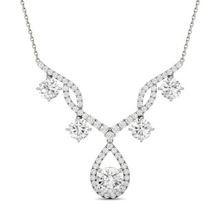 Charles & Colvard 14k White Gold 3 1/2ct DEW Forever Brilliant Moissanite Statement Necklace