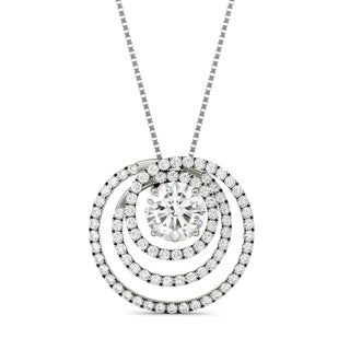 Charles & Colvard 14k White Gold 2 1/3ct Forever Brilliant Moissanite Triple Circle Pendant