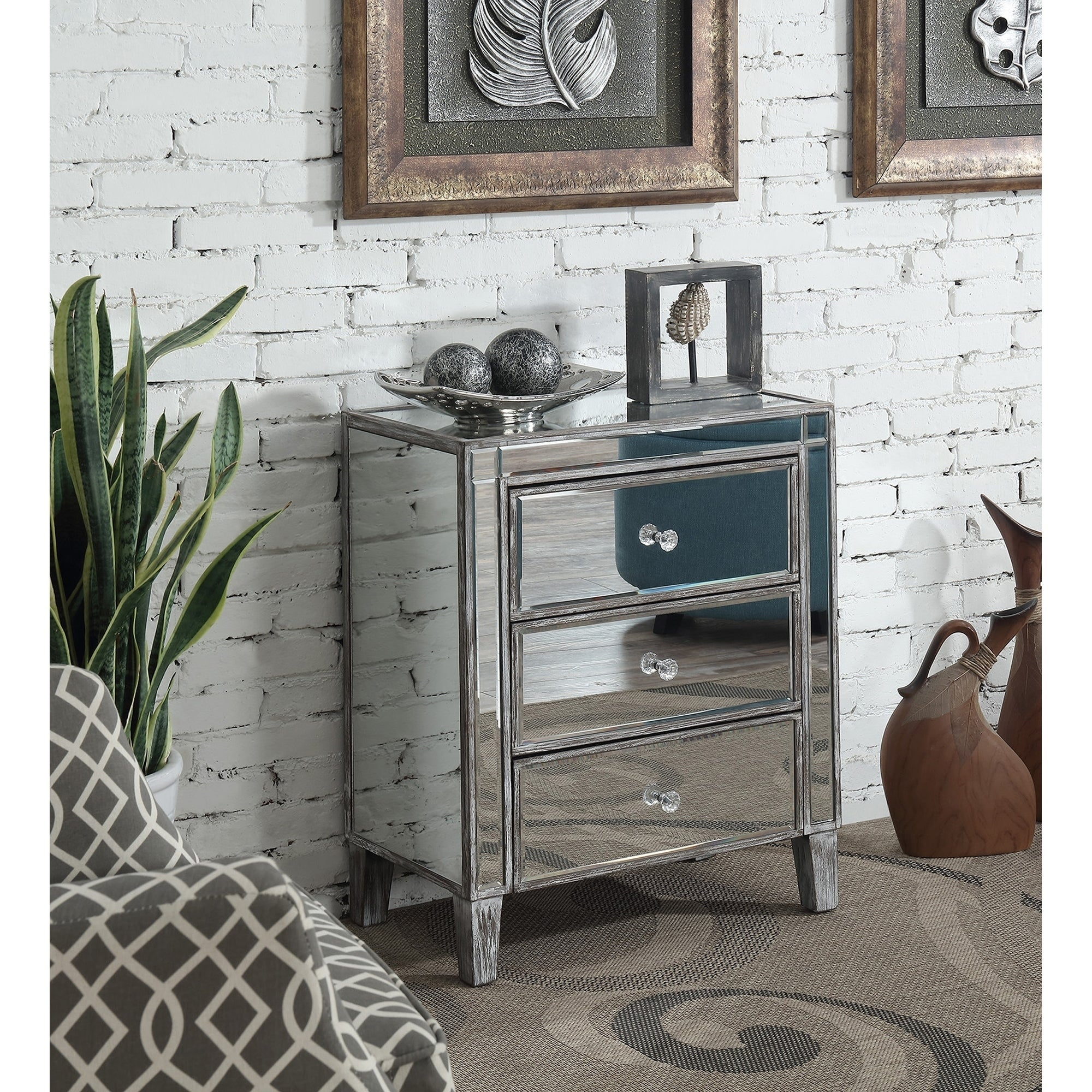 Convenience Concepts Gold Coast 3 Drawer Mirrored End