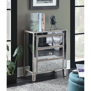 Convenience Concepts Gold Coast Mirrored Silvertone 3-drawer End Table