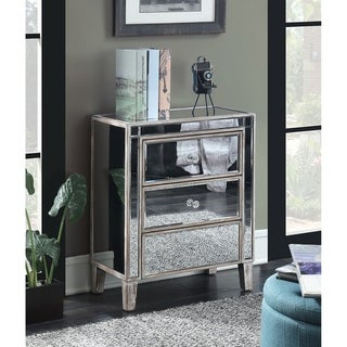 Silver Orchid Olivia 3-drawer Mirrored End Table (3 options available)
