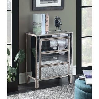 Convenience Concepts Gold Coast Mirrored Silvertone 3 Drawer End Table