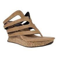 Women's MODZORI Alba Thong Wedge Sandal Beige/Black Reversible