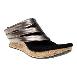 Women's MODZORI Sabra Wedge Thong Sandal Black/Gold/Black/Pewter