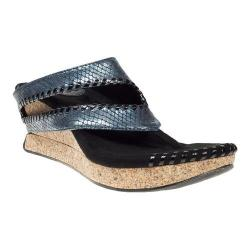 Women's MODZORI Tita Thong Sandal Blue Metallic Snake/Black