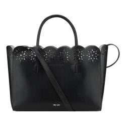 Women's Nine West Sahara Side Perf Large Tote Black/Silver/Black