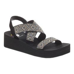 Women's Yellow Box Bessie Strappy Sandal Black/Multi Textile/Leather