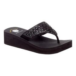 Women's Yellow Box Pure Thong Sandal Black Leather