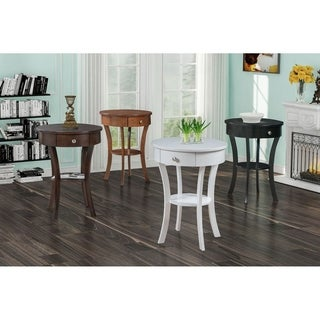 Convenience Concepts Classic Accents Schaffer White Wood and Silvertone Metal End Table