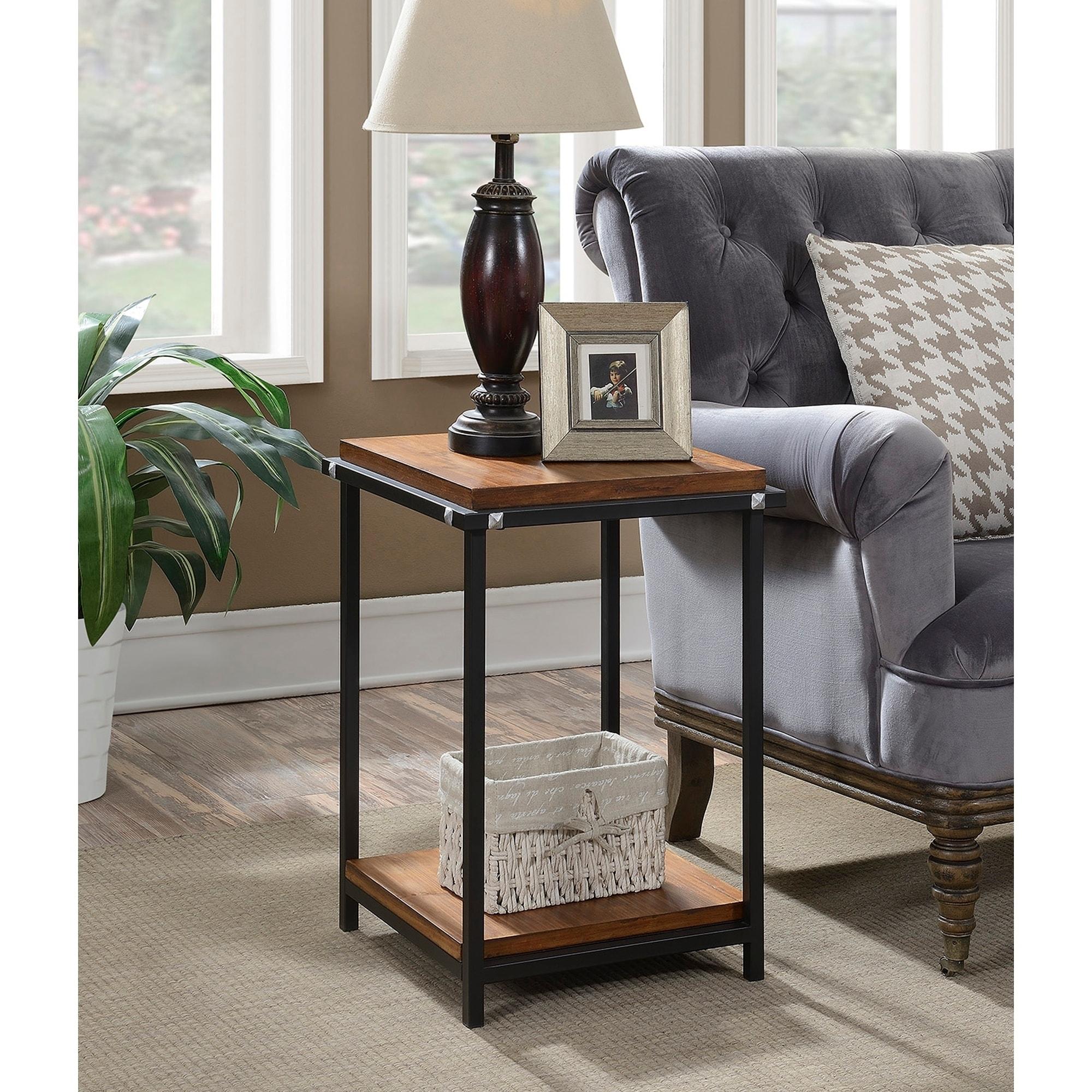 Industrial End Table Square Wooden Tabletop Lower Shelf Storage Metal Frame