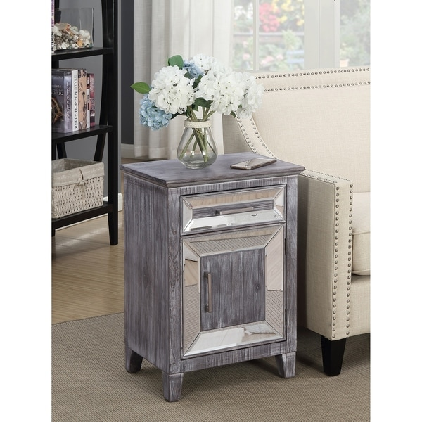 Silver Orchid Talmadge Mirrored Cabinet with Drawer
