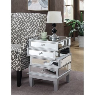 Convenience Concepts Gold Coast J Daniels Mirrored Silvertone 4-drawer End Table