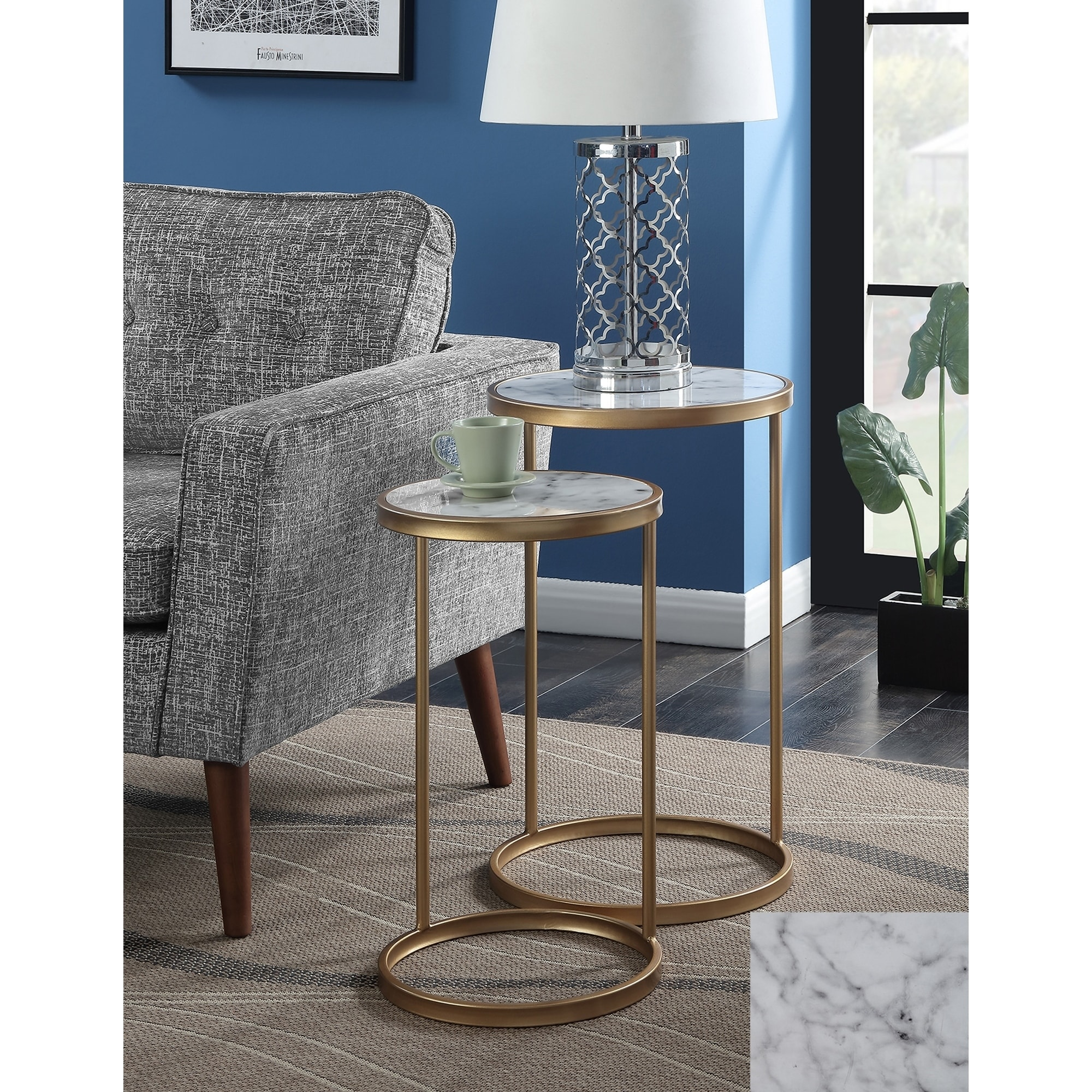 Round White Marble Milan Accent Table By World Market: Shop Convenience Concepts Gold Coast Faux Marble Nesting