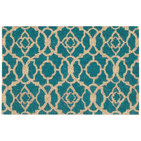 """Waverly Greetings """"Lovely Lattice"""" Teal Doormat by Nourison - 1'6 x 2'4"""