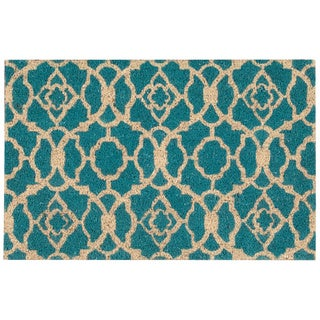 "Waverly Greetings ""Lovely Lattice"" Teal Doormat by Nourison - 1'6 x 2'4"
