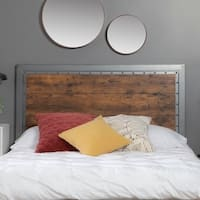Carbon Loft Santos Industrial Wood and Metal Queen Headboard