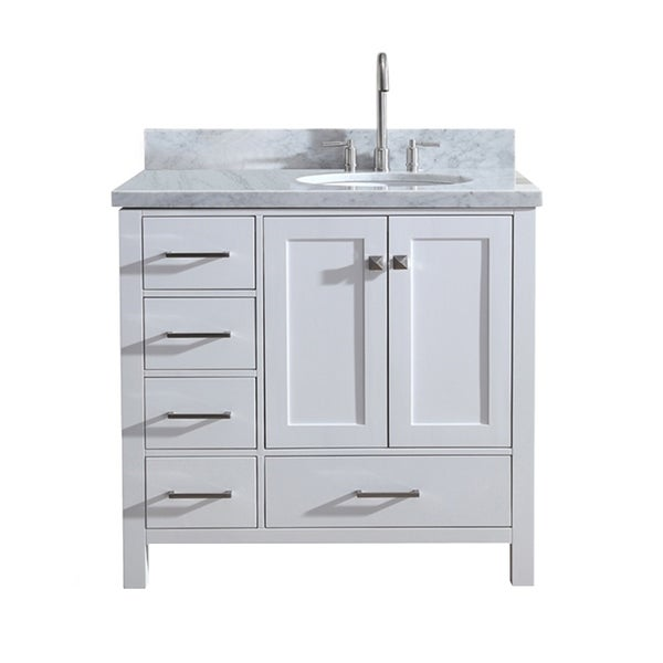 Shop Ariel Cambridge 37 Single Sink Vanity Set W Right Offset Sink In White Free Shipping