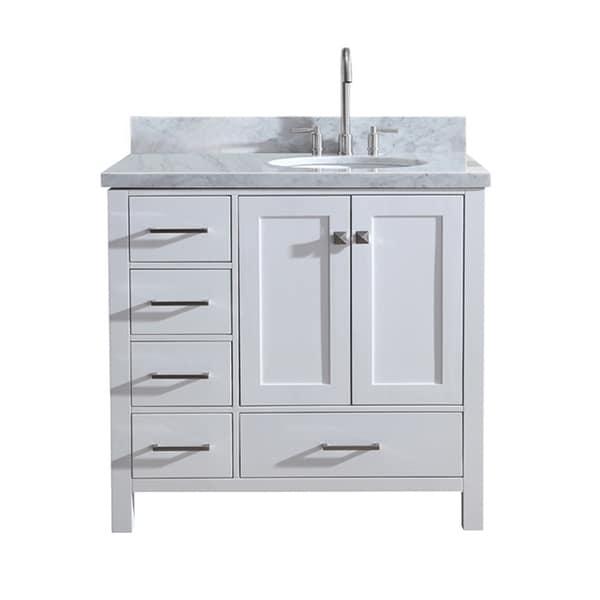 "Ariel Cambridge 37"" Single Sink Vanity Set W/ Right Offset Sink In White"