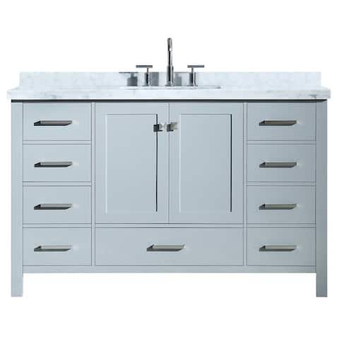"Ariel Cambridge 55"" Single Rectangle Sink Vanity Set In Grey"
