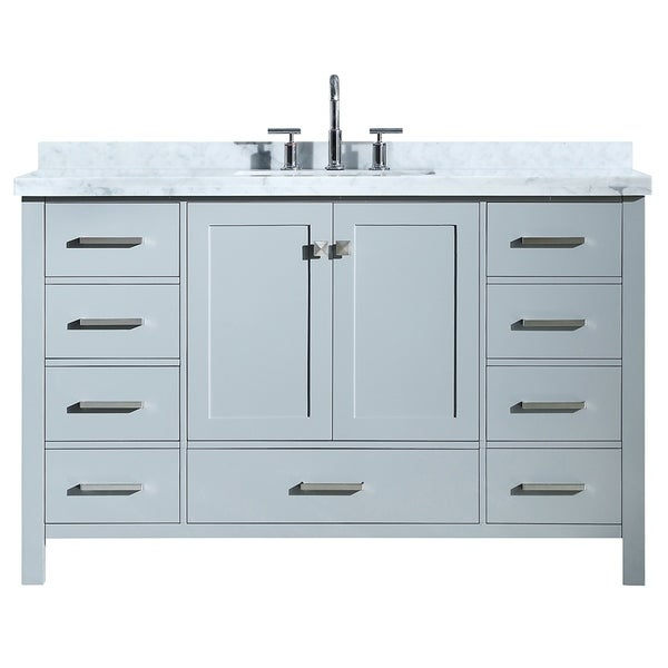 Shop ariel cambridge 55 single rectangle sink vanity set in grey free shipping today for 55 single sink bathroom vanity