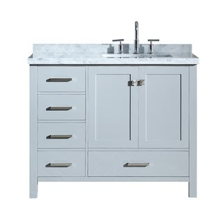 "Ariel Cambridge 43"" Right Offset Single Rectangle Sink Vanity Set In Grey"