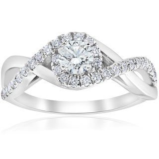 Bliss 10k White Gold 1 ct TDW Halo Diamond Engagement Infinity Ring